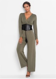 Jumpsuit med brett skärp i skinnimitation, BODYFLIRT boutique