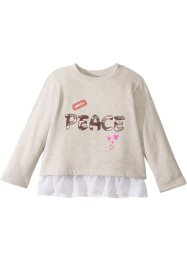 Sweatshirt med chiffongvolang, bpc bonprix collection