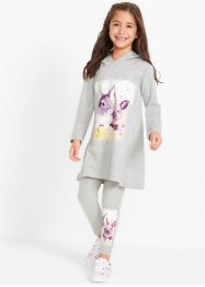 Longshirt med luva + leggings för flickor (2 delar), bpc bonprix collection