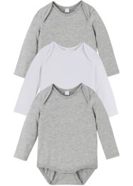 Långärmad babybody (3-pack), ekologisk bomull, bpc bonprix collection