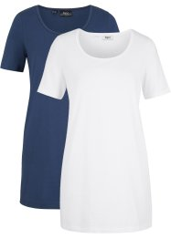 Lång T-shirt i basmodell (2-pack), bpc bonprix collection