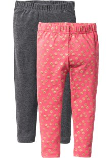 Leggings (2-pack), bpc bonprix collection, ljus pink, mönstrad + antracitmelerad