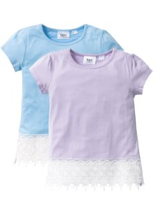 T-shirt med spets (2-pack), bpc bonprix collection, mellanblå+blålila