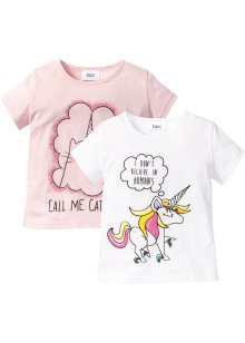 T-shirts (2-pack), bpc bonprix collection, vit unicorn+ljusrosa caticorn