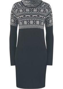 Långärmad stickad klänning med norgemönster mörkblågulvit