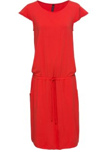 Cool trikåklänning med plisserad look och knytband och slits