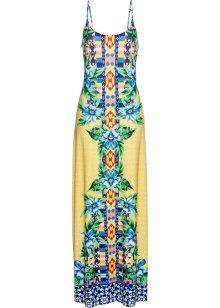 Drömlik halterneckklänning med blommönster turkos, blommig