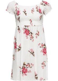 Klänning med förtrollande mönster och knappslå vit, blommig