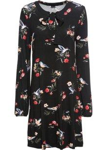 Moderiktigt mönstrad klänning med halvlånga ärmar svart