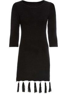Stickad klänning med volang svart BODYFLIRT boutique köp