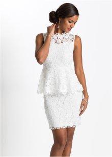 Klänning med pärlor och fransar vit BODYFLIRT boutique