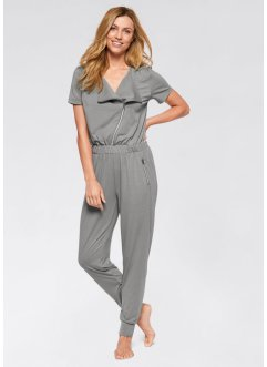 Jumpsuit, kortärmad, bpc bonprix collection, neutralgrå