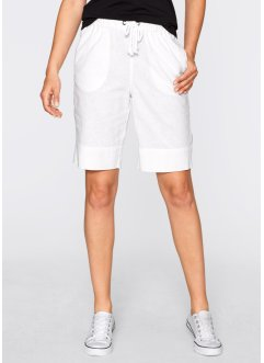 Mjukisshorts i linne, bpc bonprix collection, vit