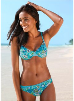 Bygelbikini, bpc bonprix collection, turkos/vit
