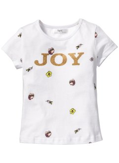 T-shirt med glitter, bpc bonprix collection, vit, mönstrad