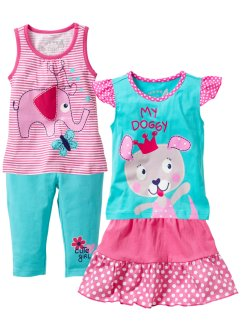 Linne + T-shirt + kjol + 3/4-leggings (4 delar), bpc bonprix collection