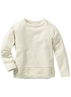 Sweatshirt med spets, bpc bonprix collection, naturmelange