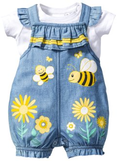 Baby-T-shirt + jeanssnickarbyxa (2 delar), bpc bonprix collection, vit/lightblue bleached