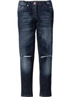 Super skinny jeans med destroyed effekter, John Baner JEANSWEAR, dark denim