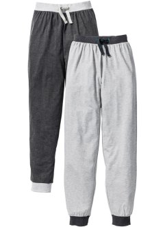 Pyjamasbyxa (2-pack), bpc bonprix collection, ljusgråmelerad/antracitmelerad