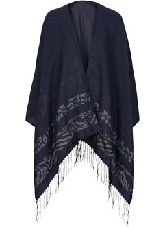 Poncho med tryck, bpc bonprix collection, blå/silver
