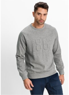 Sweatshirt, normal passform, bpc bonprix collection, ljusgråmelerad