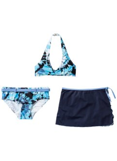 Bikini + kjol (3 delar), bpc bonprix collection, blå/vit, batik