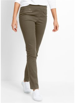 Jeggings med dragkedja, bpc bonprix collection, mörk olivgrön