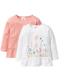 Långärmad topp med volang (2-pack), bpc bonprix collection