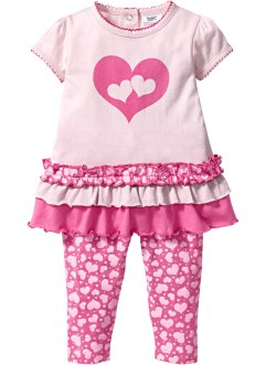 Baby T-shirt + leggings (2 delar), ekologisk bomull, bpc bonprix collection, ljusrosa/flamingopink, mönstrad