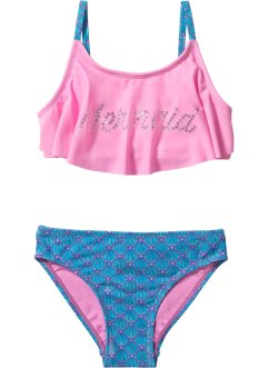 Bikini för flickor (2 delar), bpc bonprix collection, turkos/pink