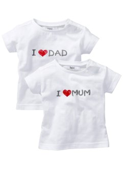 Baby-T-shirt (2-pack), bpc bonprix collection, vit, mönstrad