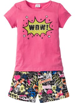 Kort pyjamas (2 delar), bpc bonprix collection, pink/svart