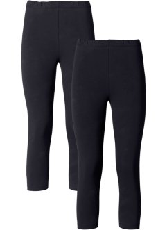 Caprileggings, 2-pack, BODYFLIRT, svart/svart