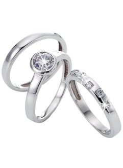 Ringset med zirkoner (3 st), bpc bonprix collection
