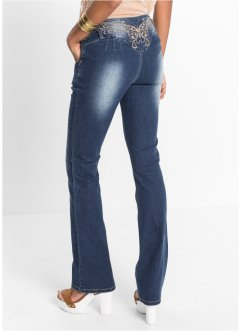 Jeans med broderi, RAINBOW, blue stone