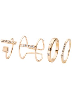 Fyrdelat set med ringar med strass, bpc bonprix collection
