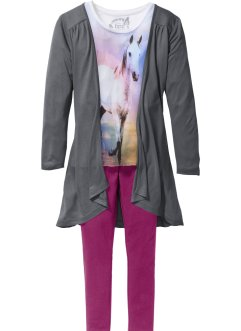 T-shirt + cardigan + leggings (3 delar), bpc bonprix collection