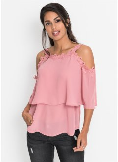 Cold shoulder-blus med spets, BODYFLIRT