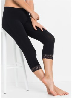 Pyjamasleggings i caprilängd med spets, bpc bonprix collection