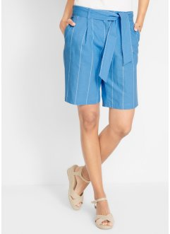 Randiga linneshorts med knytband, bpc bonprix collection