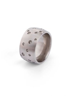 Ring i rostfritt stål prydd med strass, bpc bonprix collection