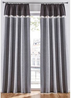 Draperi i ekologisk bomull, med knappar (1-pack), bpc living bonprix collection