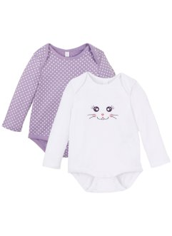Långärmad babybody i 2-pack (ekologisk bomull), bpc bonprix collection
