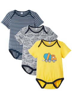 Kortärmad babybody (3-pack), ekologisk bomull, bpc bonprix collection