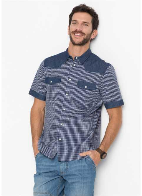 Kort auml rmad skjorta med denimlook 5d035099ac3d6