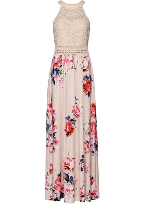 Förtrollande klänning med spetsöverdel beigelilarosa