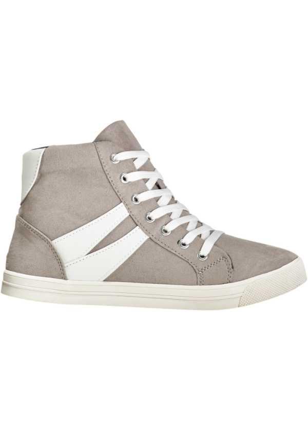 Sneakers med högt skaft ljusgrå Dam bonprix.se