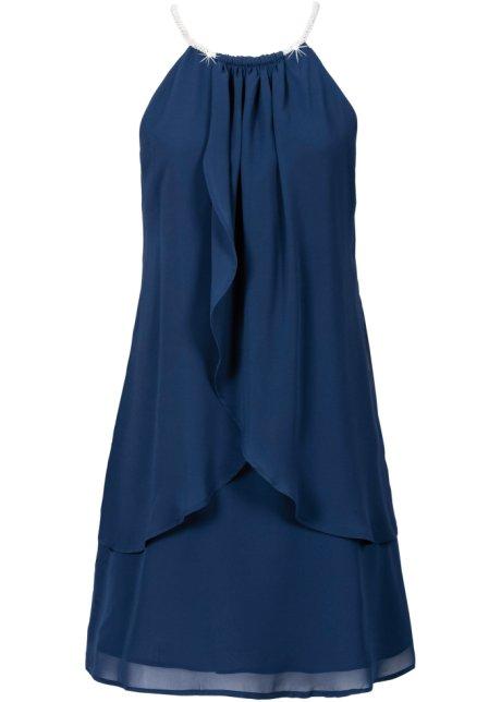 Chiffongklänning med halsband mörkblå - BODYFLIRT köp online ... 07549ade5b751