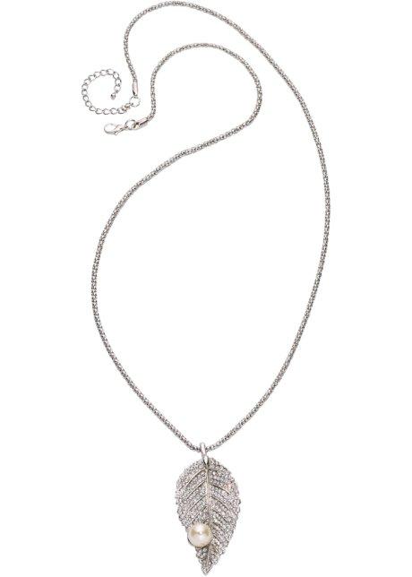 Långt halsband med löv och pärla silverfärgad - Dam - bonprix.se 32af6331d6275